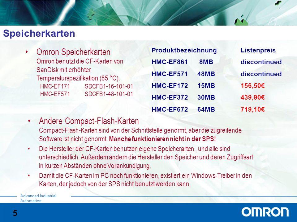 Speicherkarten Omron Speicherkarten Omron benutzt die CF-Karten von SanDisk mit erhöhter Temperaturspezifikation (85 °C).