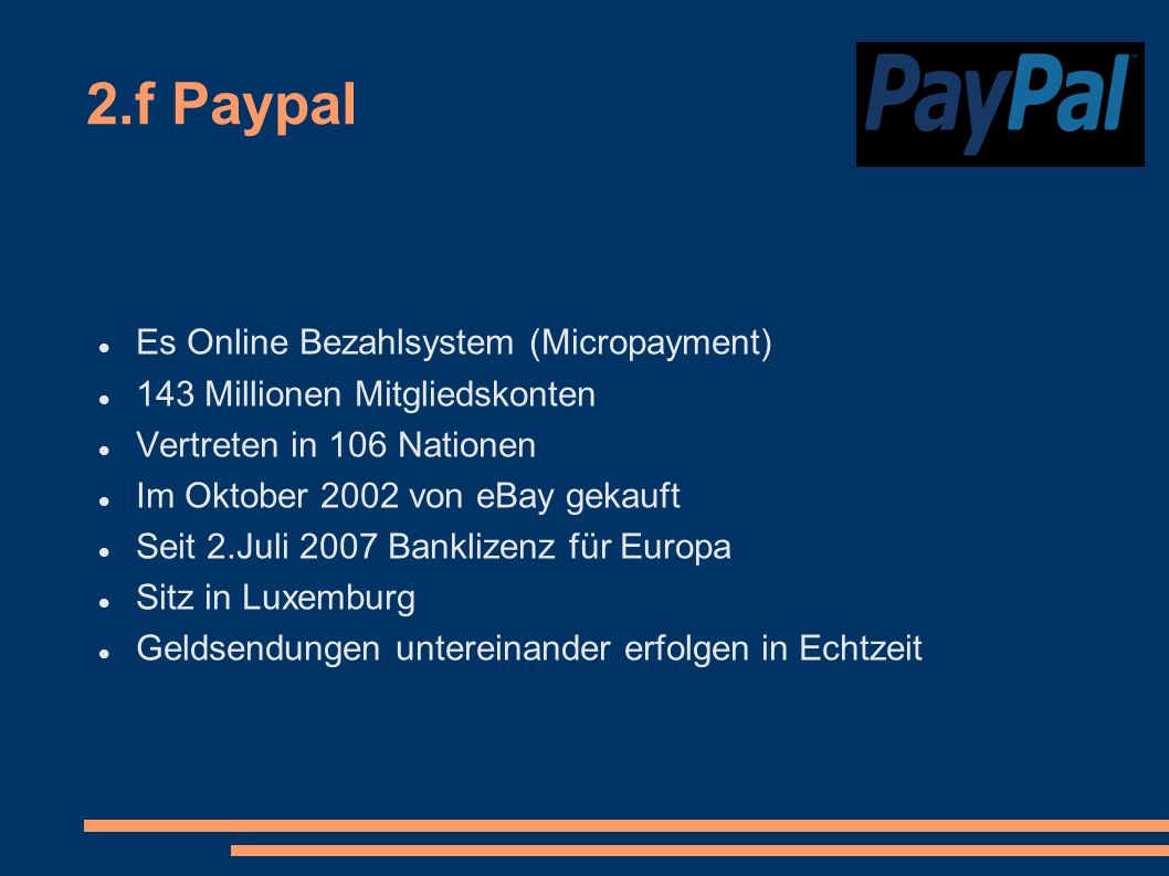 2.f Paypal Es Online Bezahlsystem (Micropayment)‏