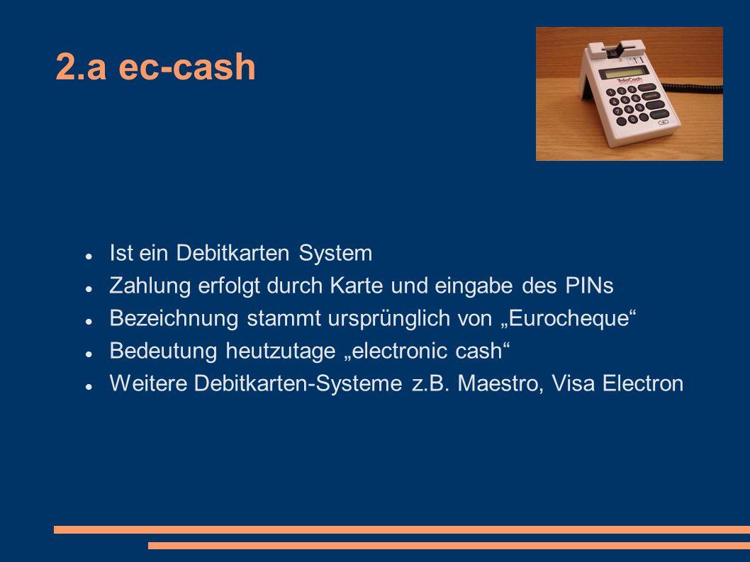 2.a ec-cash Ist ein Debitkarten System