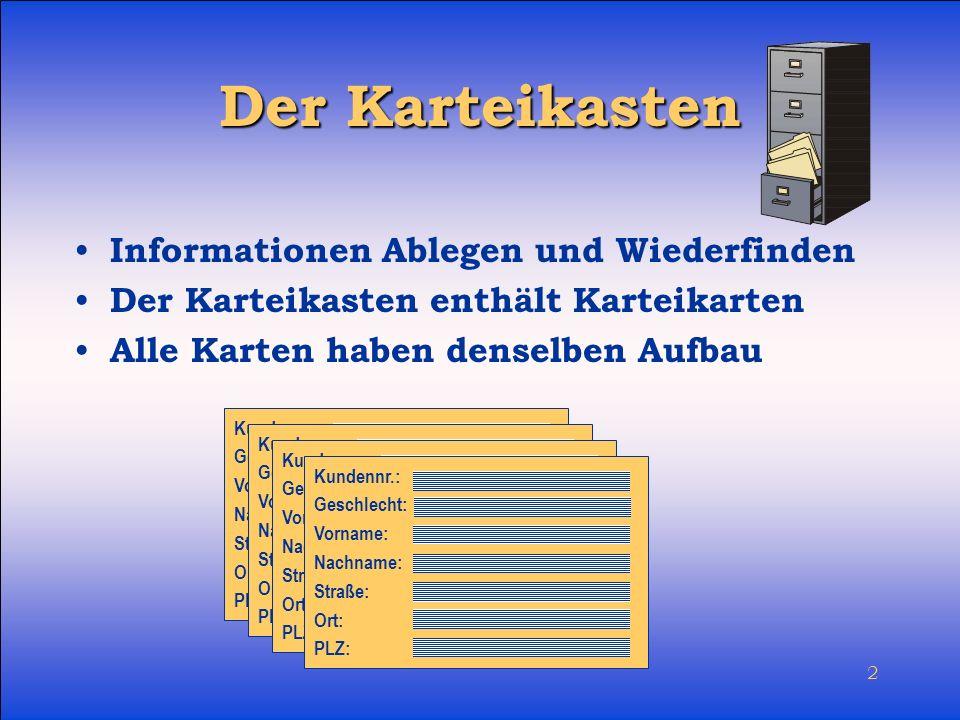 Der Karteikasten Informationen Ablegen und Wiederfinden