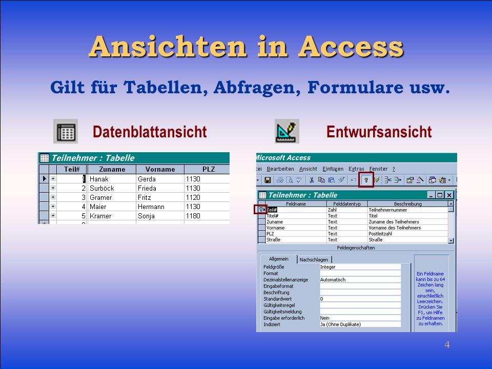 Ansichten in Access Gilt für Tabellen, Abfragen, Formulare usw.