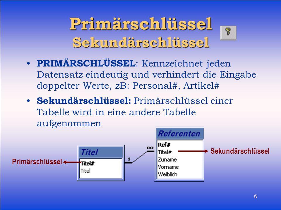 Primärschlüssel Sekundärschlüssel