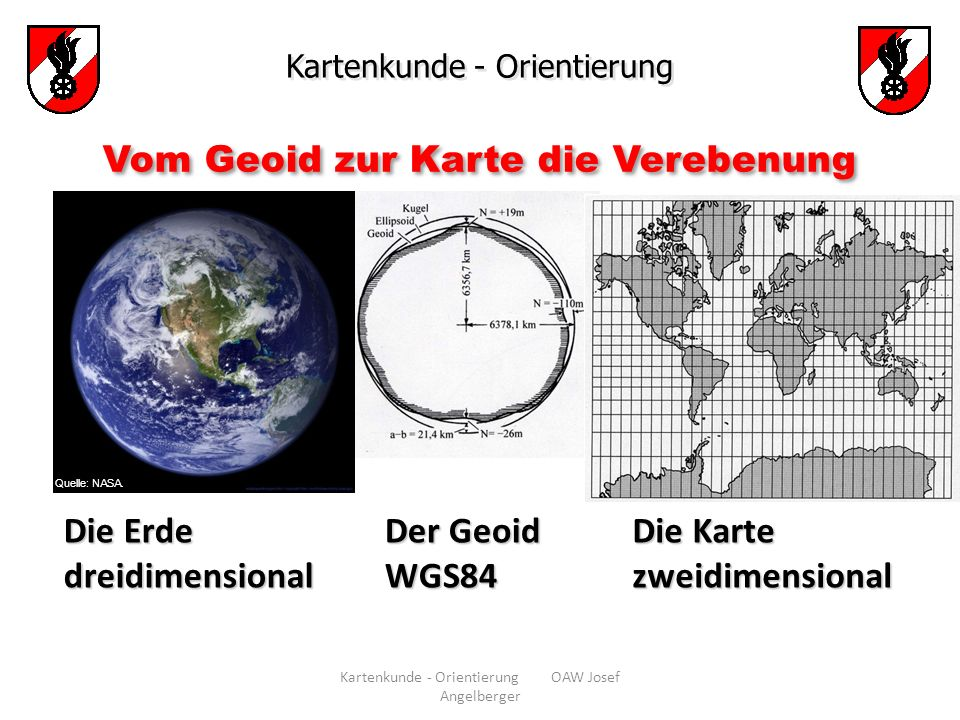 Vom Geoid zur Karte die Verebenung