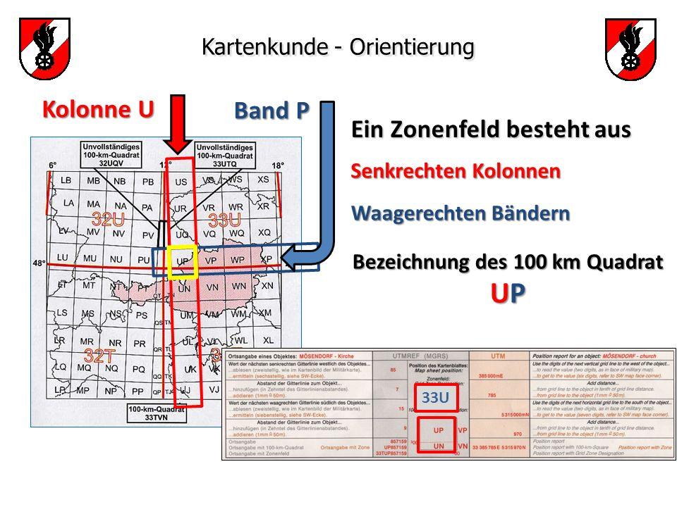 Bezeichnung des 100 km Quadrat