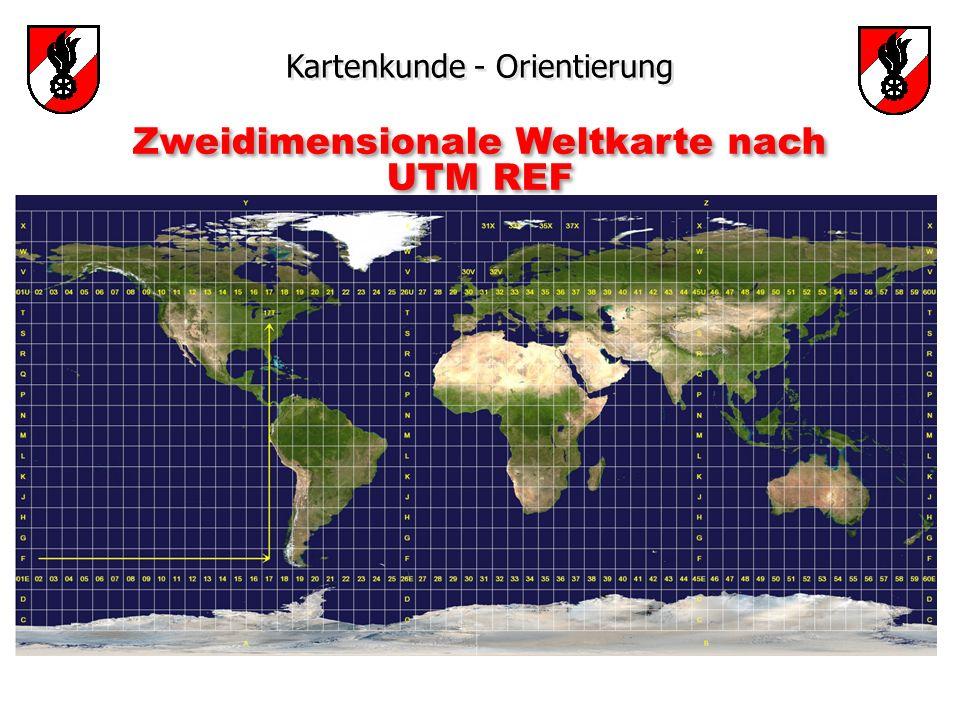 Zweidimensionale Weltkarte nach UTM REF