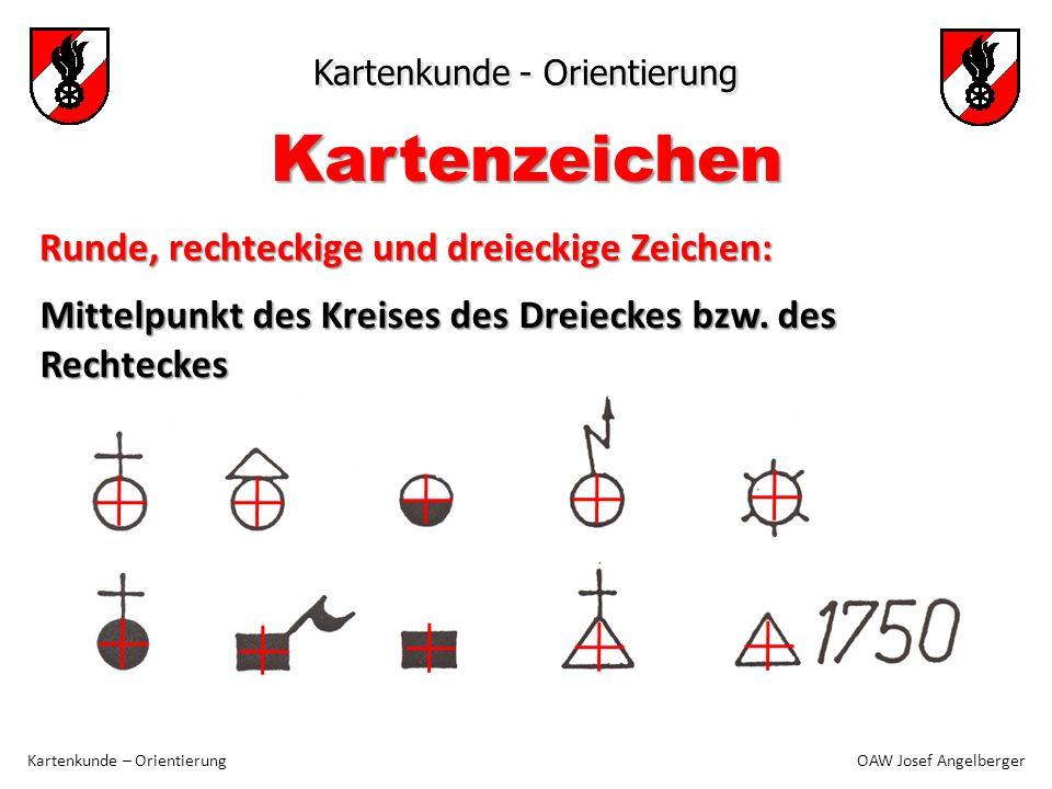 Kartenzeichen Runde, rechteckige und dreieckige Zeichen: