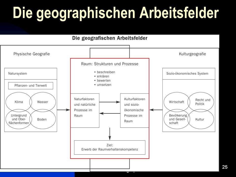 Die geographischen Arbeitsfelder