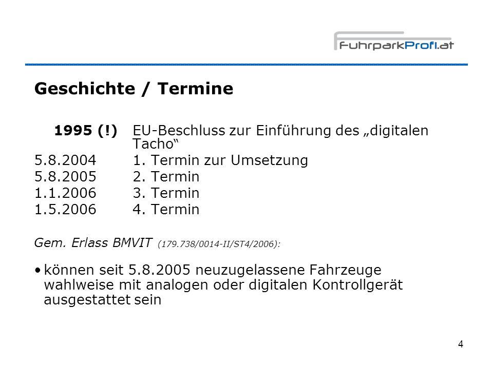 "Geschichte / Termine 1995 (!) EU-Beschluss zur Einführung des ""digitalen Tacho 5.8.2004 1. Termin zur Umsetzung."