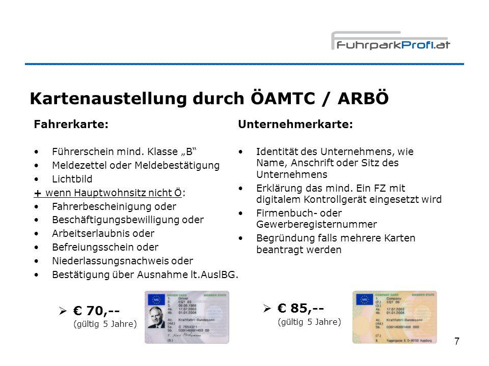 Kartenaustellung durch ÖAMTC / ARBÖ
