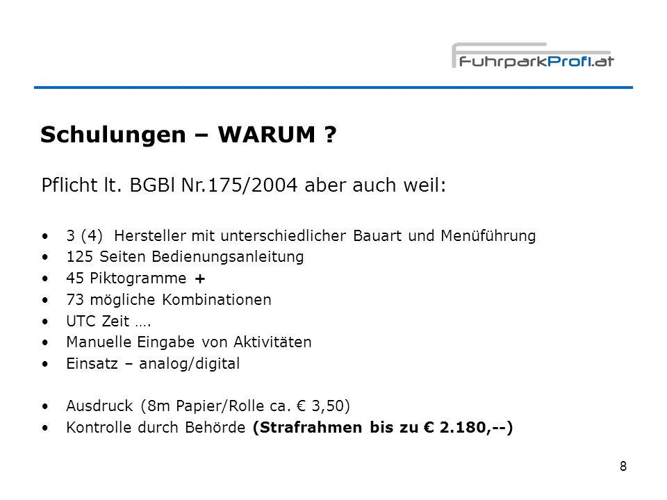 Schulungen – WARUM Pflicht lt. BGBl Nr.175/2004 aber auch weil: