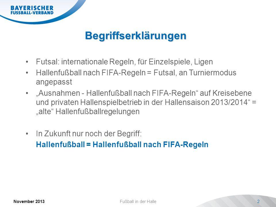 Begriffserklärungen Futsal: internationale Regeln, für Einzelspiele, Ligen. Hallenfußball nach FIFA-Regeln = Futsal, an Turniermodus angepasst.