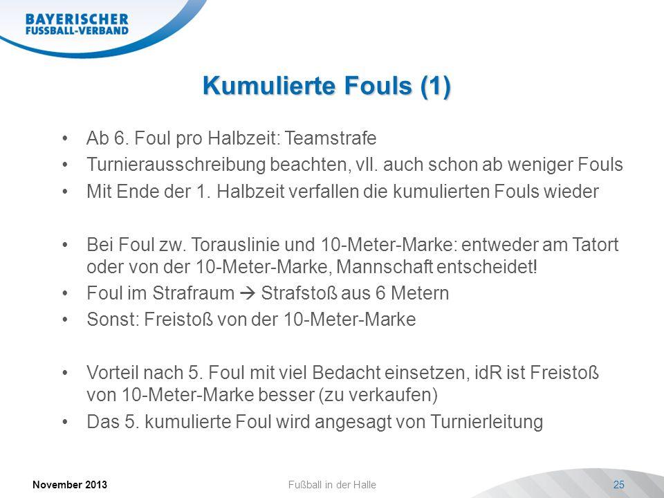 Kumulierte Fouls (1) Ab 6. Foul pro Halbzeit: Teamstrafe