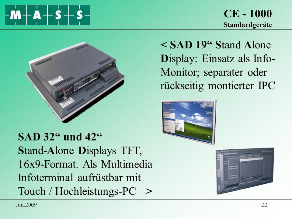 CE - 1000 Standardgeräte< SAD 19 Stand Alone Display: Einsatz als Info- Monitor; separater oder rückseitig montierter IPC.