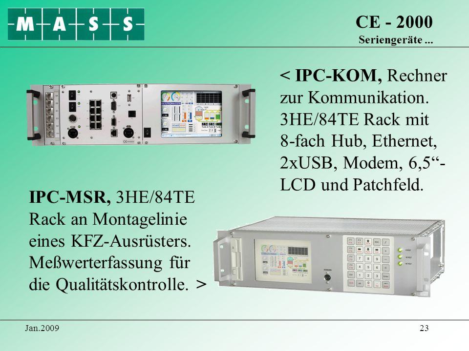 CE - 2000 Seriengeräte ...< IPC-KOM, Rechner zur Kommunikation. 3HE/84TE Rack mit 8-fach Hub, Ethernet, 2xUSB, Modem, 6,5 - LCD und Patchfeld.
