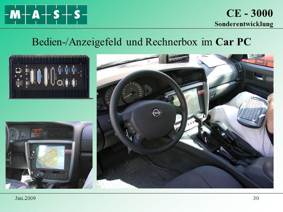 Bedien-/Anzeigefeld und Rechnerbox im Car PC