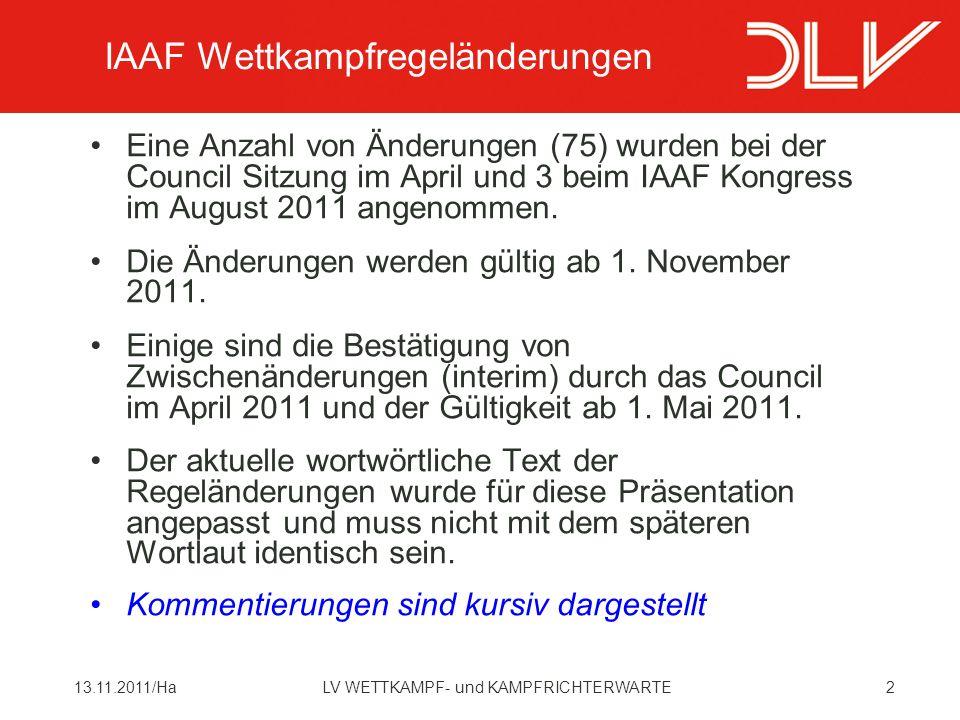 IAAF Wettkampfregeländerungen