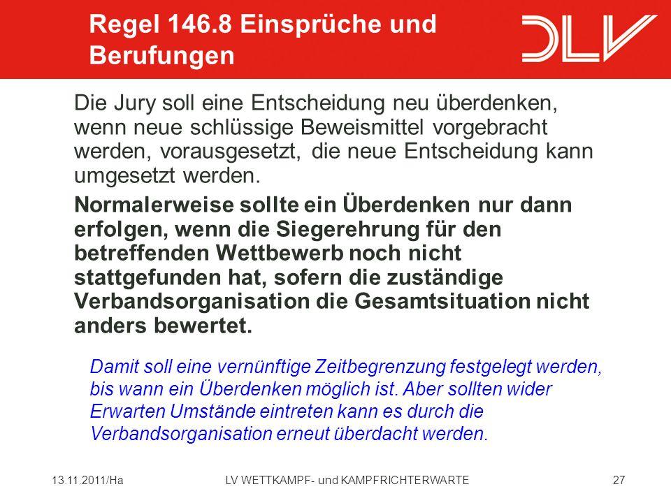 Regel 146.8 Einsprüche und Berufungen