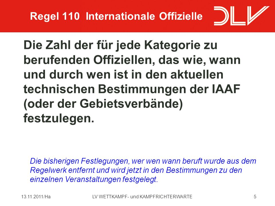 Regel 110 Internationale Offizielle