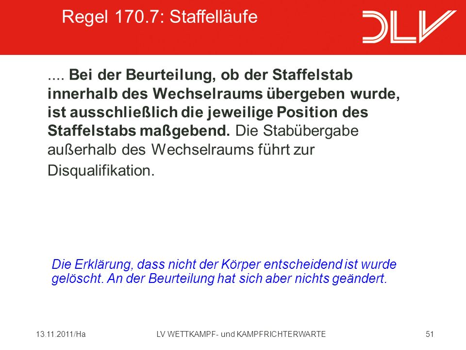Regel 170.7: Staffelläufe
