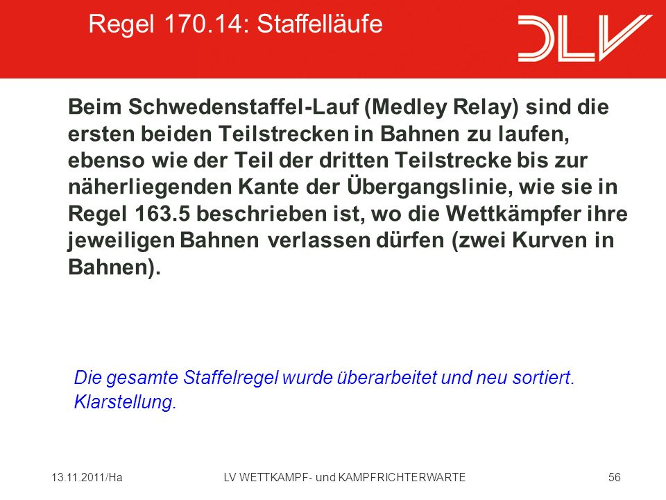 Regel 170.14: Staffelläufe