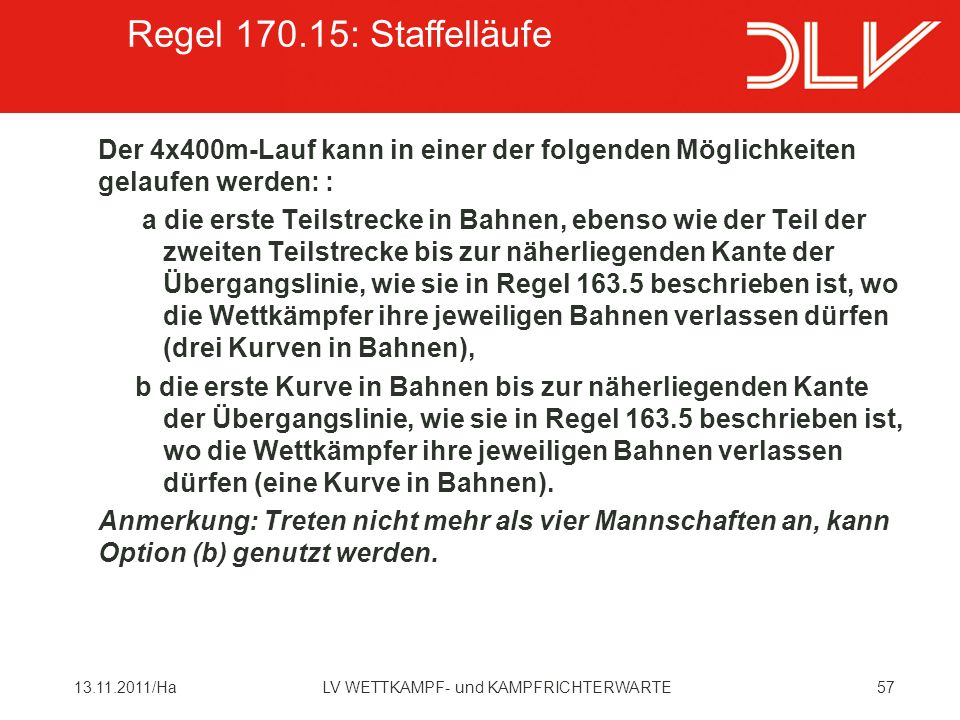 Regel 170.15: Staffelläufe