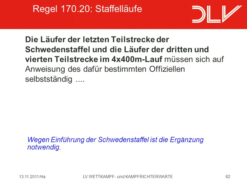 Regel 170.20: Staffelläufe