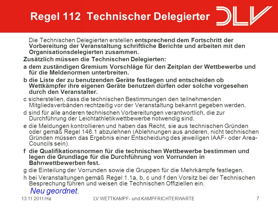 Regel 112 Technischer Delegierter