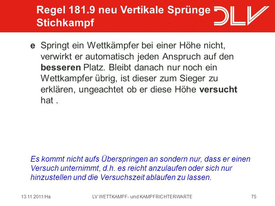 Regel 181.9 neu Vertikale Sprünge - Stichkampf