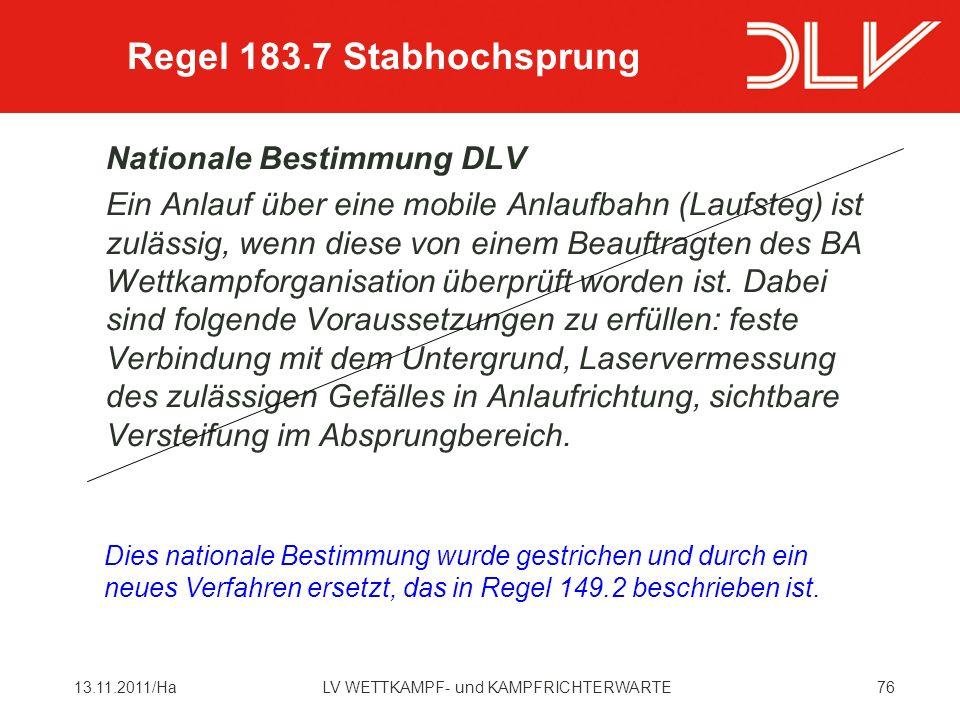 Regel 183.7 Stabhochsprung Nationale Bestimmung DLV