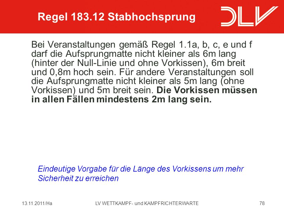 Regel 183.12 Stabhochsprung