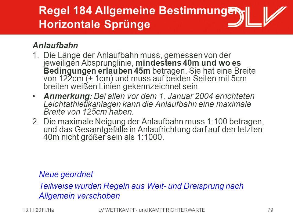Regel 184 Allgemeine Bestimmungen- Horizontale Sprünge