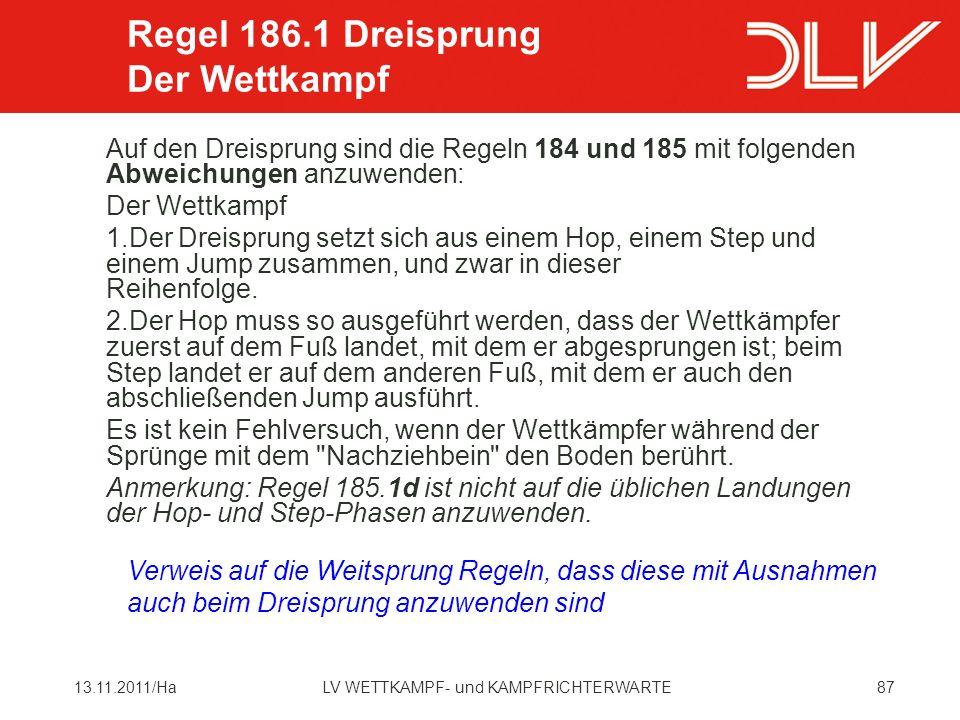 Regel 186.1 Dreisprung Der Wettkampf
