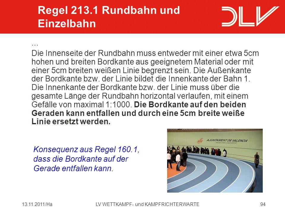 Regel 213.1 Rundbahn und Einzelbahn