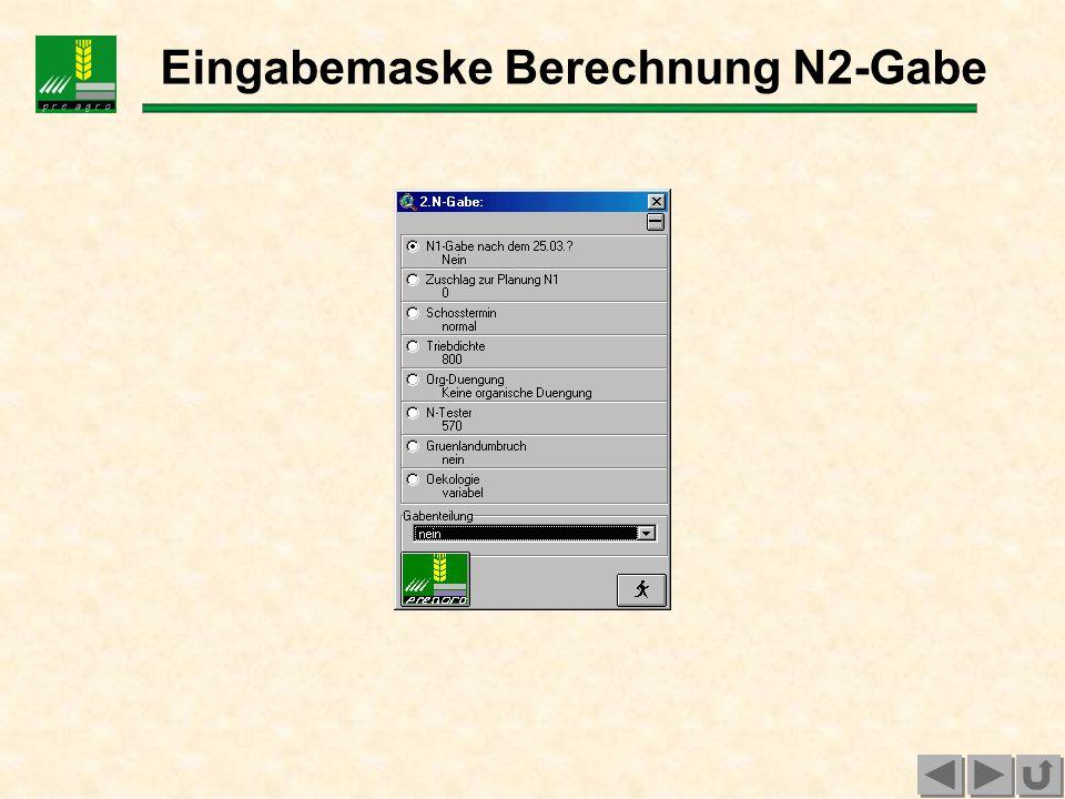 Eingabemaske Berechnung N2-Gabe