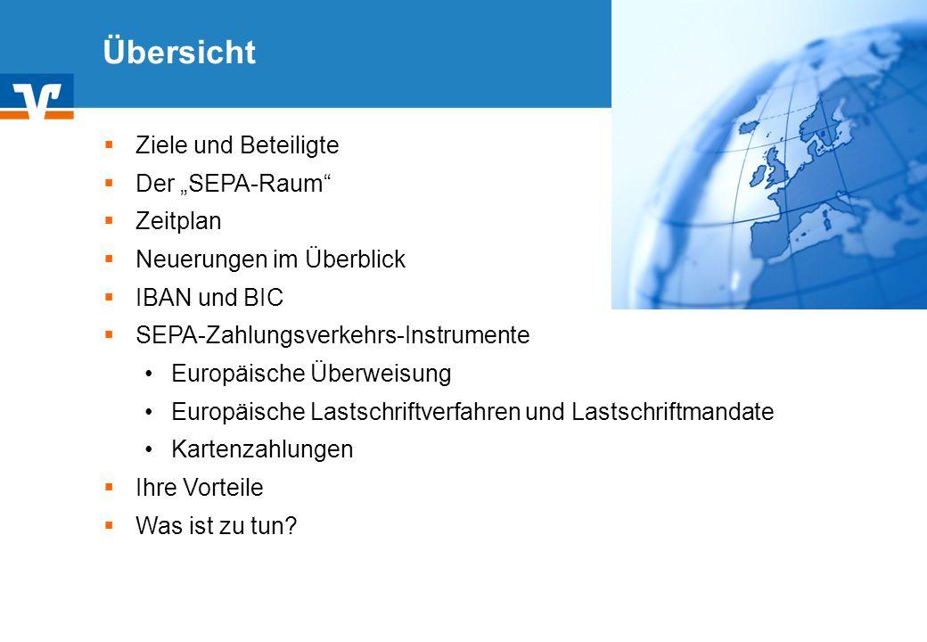 """Übersicht Ziele und Beteiligte Der """"SEPA-Raum Zeitplan"""