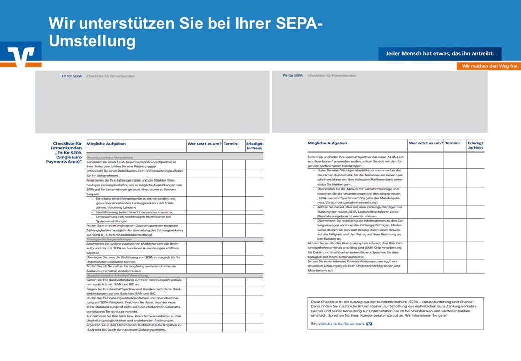 Wir unterstützen Sie bei Ihrer SEPA-Umstellung