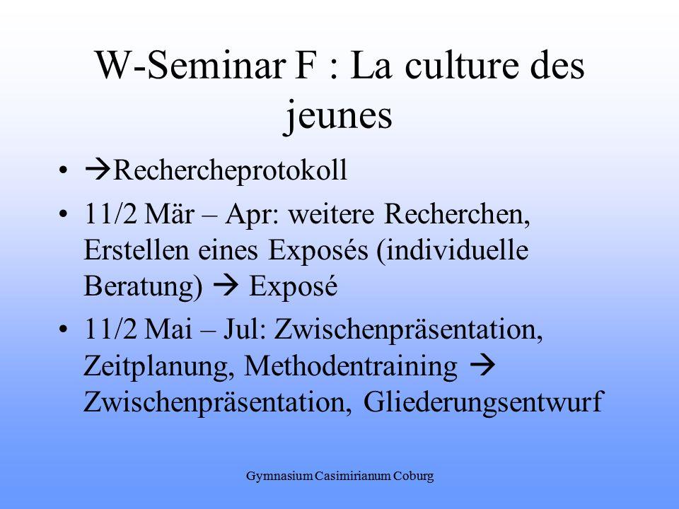 W-Seminar F : La culture des jeunes