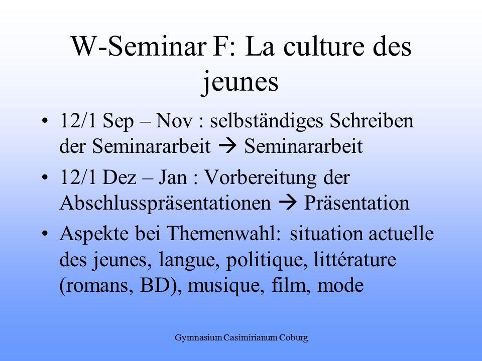 W-Seminar F: La culture des jeunes