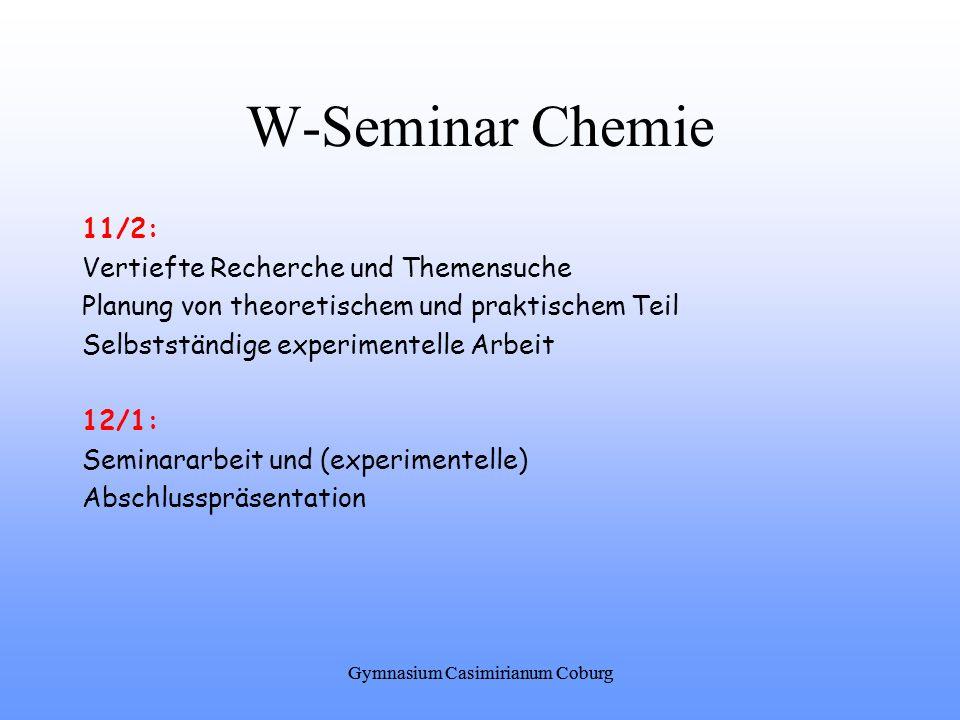 W-Seminar Chemie 11/2: Vertiefte Recherche und Themensuche