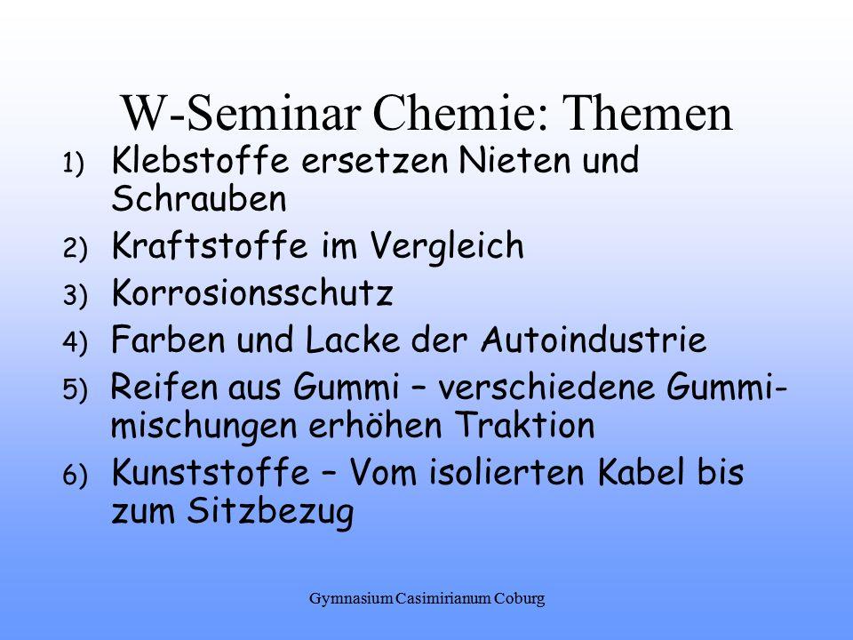 W-Seminar Chemie: Themen
