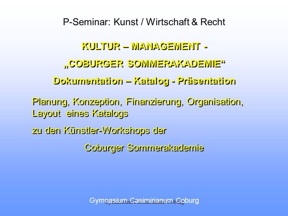 """COBURGER SOMMERAKADEMIE Dokumentation – Katalog - Präsentation"