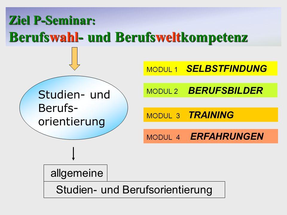 Ziel P-Seminar: Berufswahl- und Berufsweltkompetenz