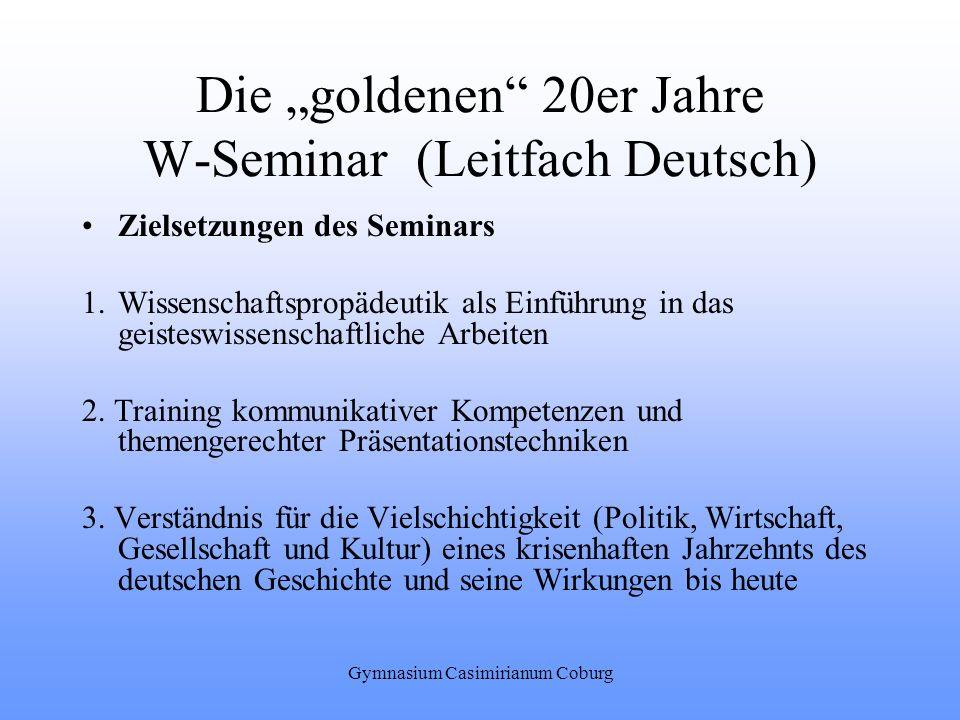 """Die """"goldenen 20er Jahre W-Seminar (Leitfach Deutsch)"""