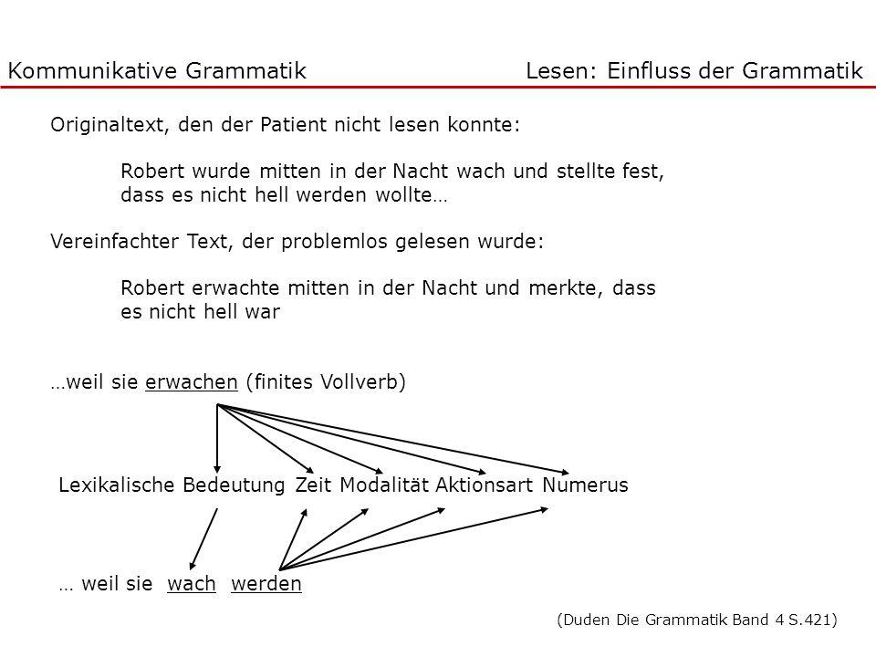 Kommunikative Grammatik Lesen: Einfluss der Grammatik
