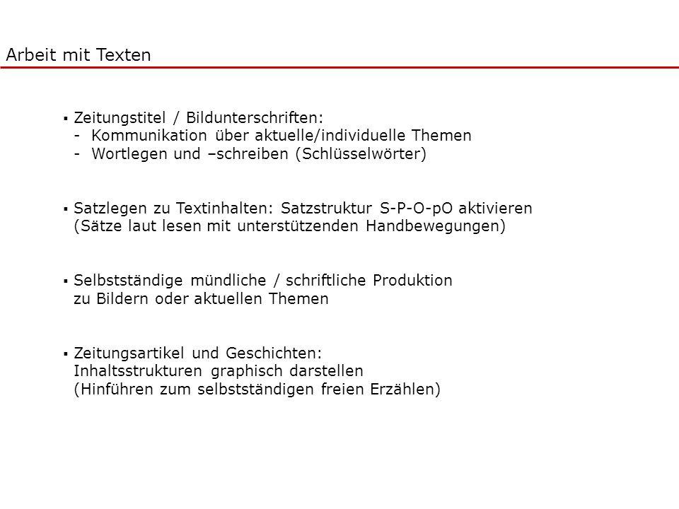 Arbeit mit Texten Zeitungstitel / Bildunterschriften: