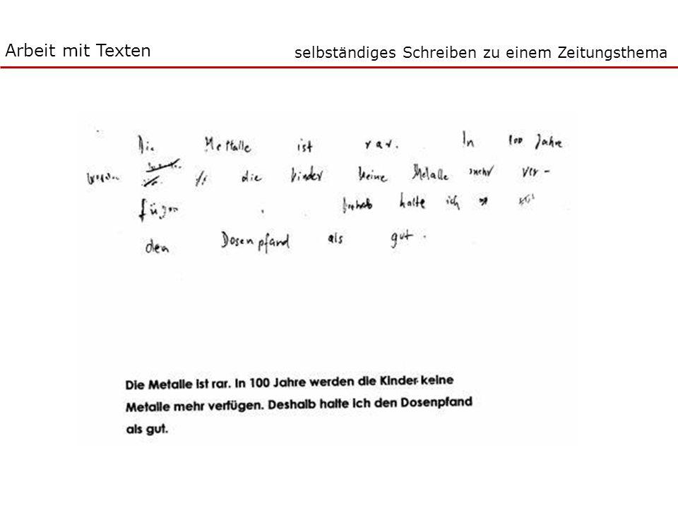 Arbeit mit Texten selbständiges Schreiben zu einem Zeitungsthema