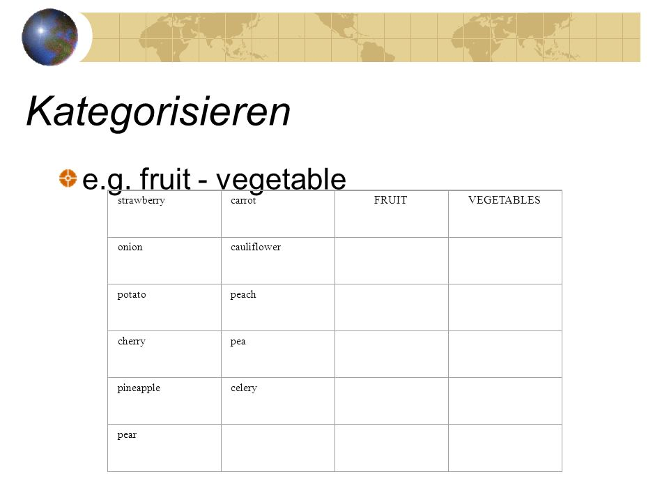 Kategorisieren e.g. fruit - vegetable strawberry carrot FRUIT