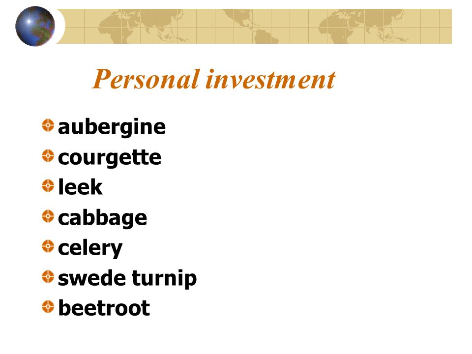 Personal investment aubergine courgette leek cabbage celery
