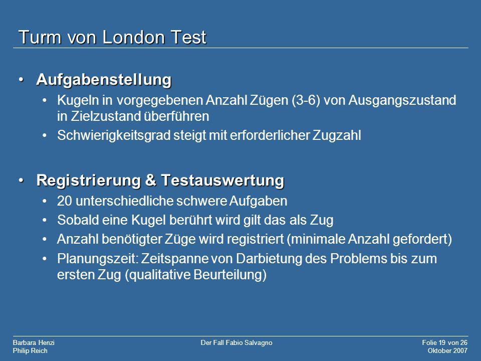 Turm von London Test Aufgabenstellung Registrierung & Testauswertung