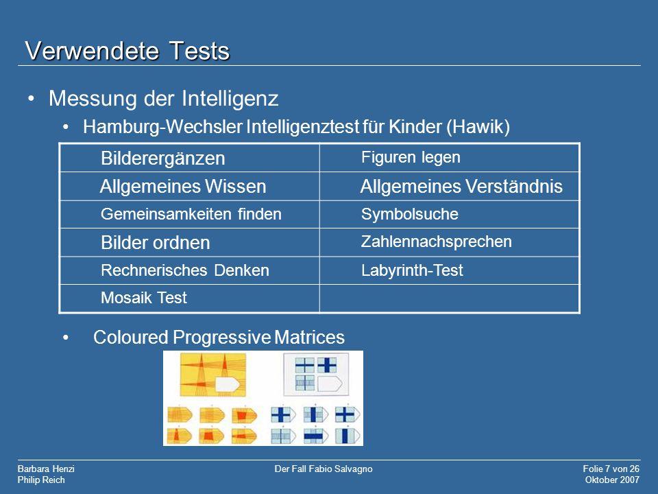 Verwendete Tests Messung der Intelligenz